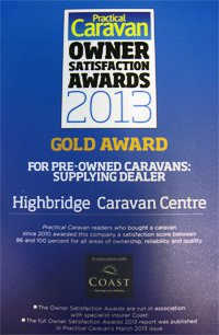Practical Caravan Pre-Owned Caravans: Supplying Dealer Gold Award